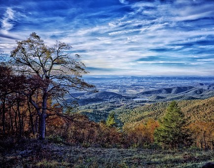Virginia, Landscape, Mountains, Valley, Sky, Clouds