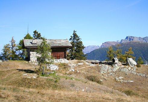 Mountain Hut, Hiking, Landscape, Alpine, Autumn, Sky