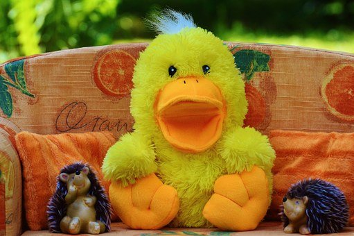 Couch, Sofa, Duck, Hedgehog, Friends, Funny, Soft Toy