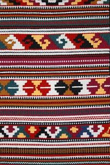 Cloth, Textiles, Etno, Tkanica, Raster, Colors, Blue