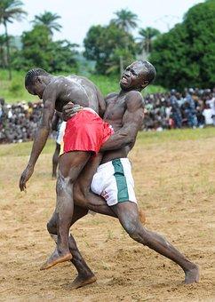 Fight, Traditional, Wrestlers, Togo, Elizabeth