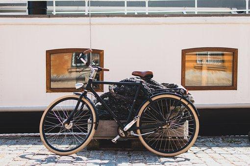 Bicycle, Bike, Cobblestones, Sidewalk, Windows