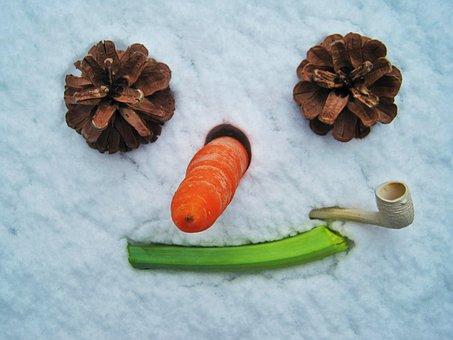 Snowman Face, Snow, Funny, Snow Man, Wintry, Winter