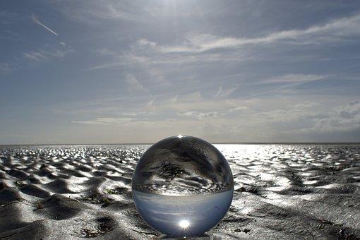 Globe Image, Ball, Glass, Glass Ball, Beach, Watts