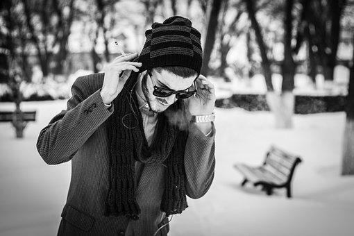 Boy, Winter, Snow, Smoke, Girl, White, Portrait, Cold