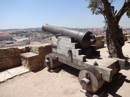 Lisbona, View, City, Cannon, Architecture, Buildings