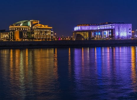 Buildings, At Night, Lights, Lighting, Water, Budapest