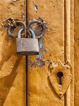 Padlock, Door, Lock, Key Hole, Macro, Close-up, Hdr