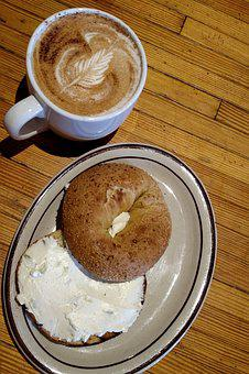 Coffee, Bagel, Cream Cheese, Breakfast, Morning, Food