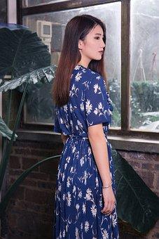 Woman, Young, Asia, Model, Fashion, Blue, Dress