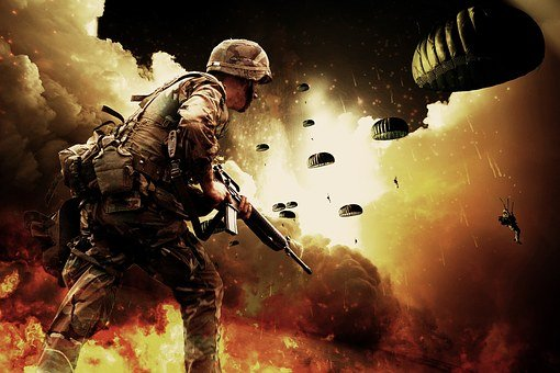 War, Soldiers, Warrior, Paratroopers, Explosion, Guns