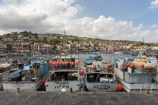 Europe, Italy, Sicily, Boats, Harbor, Port, Fishermen