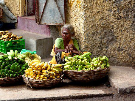 India, Fruit, Market, Fruit Basket, Bananas