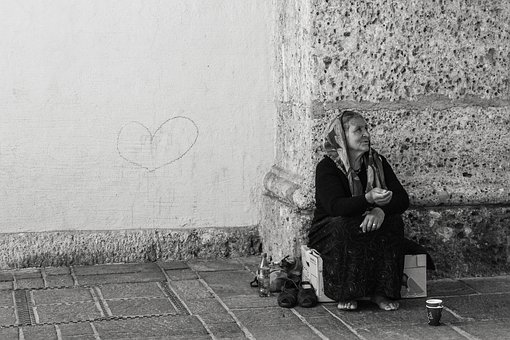Man, Black White, Genre Painting, Woman, Poverty