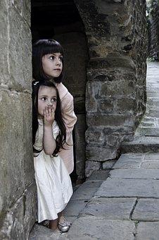 Kids, Children, Girls, Hiding, Surprised, Play