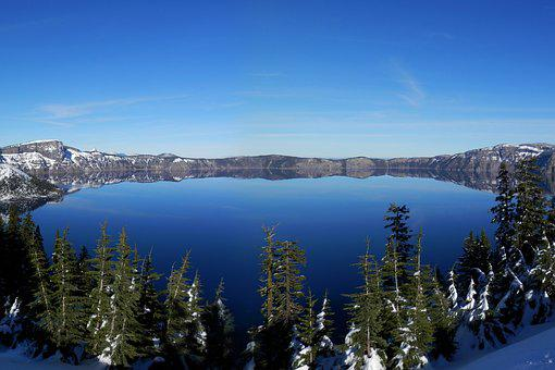 Crater Lake, Volcano, Lake, Landscape, Mountain, Crater
