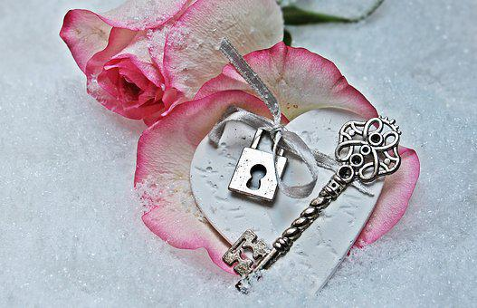 Heart, Key, Rose, Herzchen, Love, Romance, Symbol