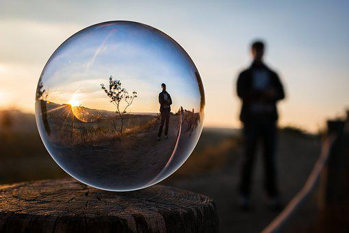 Glass Ball, Evening, Man, Sunset, Human, Photo Sphere