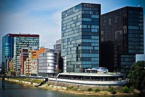 Architecture, Media Harbour, Düsseldorf, Building, Port