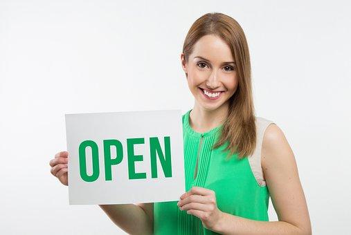 Business, Model, Woman, Message, Girl, Open
