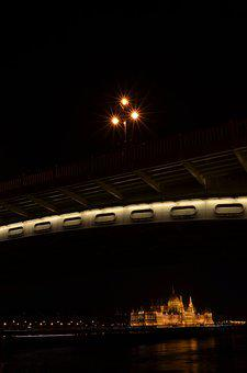 Budapest, Parliament, At Night, Margaret Bridge, Scape