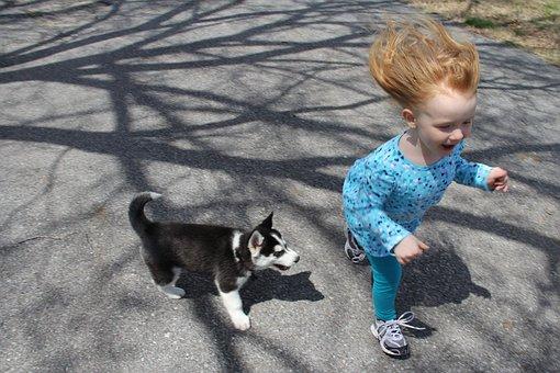 Puppy, Child, Run, Fun, Dog, Pet, Girl, Animal, Cute