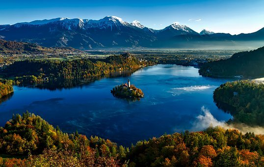 Bled, Slovenia, Fall, Autumn, Colorful, Mountains, Snow