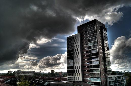 Urban, High Rise, Clouds, Weather, Storm, Sunrays, Sky