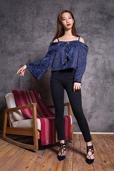 Woman, Young, Asia, Model, Fashion, Blue, Beautiful