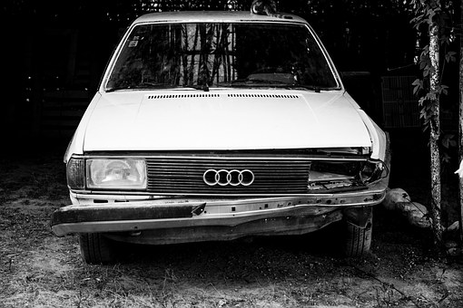 Car Audi, Old, Accident, Gammel, Rotten