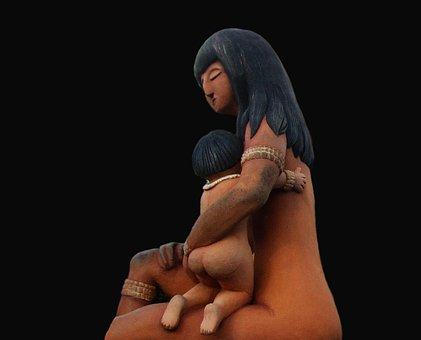 India, Brazil, Sculpture, Child, Mother, Art, People