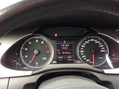 Dashboard, Audi, Audi A4, Black, Speedometer