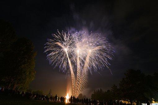 Fireworks, Basel, Night, Anniversary, August, 1st