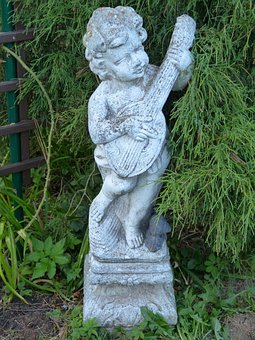 Figure, Stone Figure, Garden Figurines, Boy, Bard