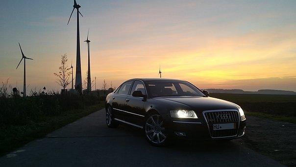 Audi, Auto, A8, Automotive, Black, Evening, Sunset