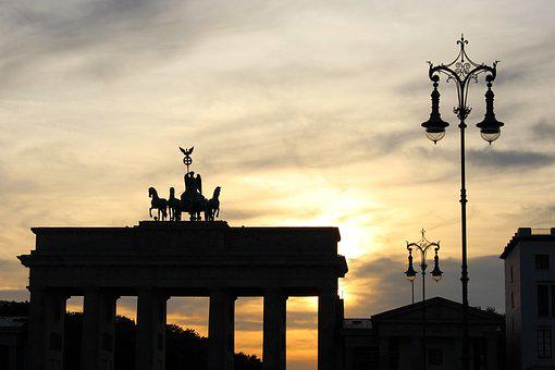 Brandenburg Gate, Sunset, Clouds, Berlin, Germany, Dusk