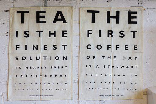 Poster, Design, Tea, Coffee, Letters, Lettering