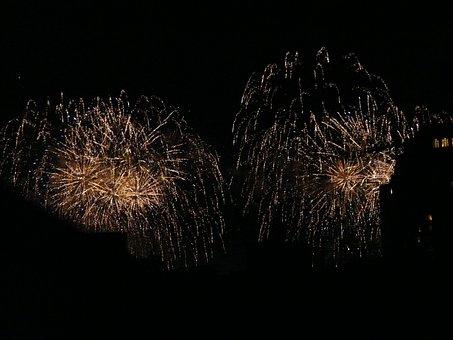 Fireworks, Explode, Night, Rocket, Golden, Yellow, City