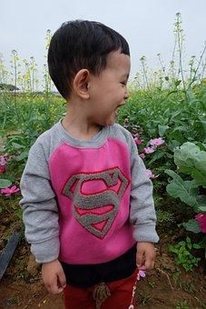 Spring, Boy, Kids, Laughing Out Loud, Garden, Cute