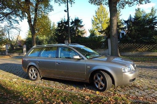Silver Grey, Cobblestones, German, Pkw, Auto, Audi