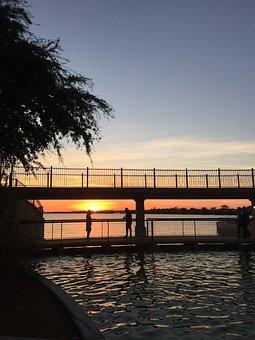 Rockwall, Harbor, Sunset, Lake, Sunny, Water