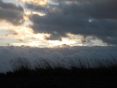 Clouds, Grass, Landscape, View, Nature, Dark Clouds