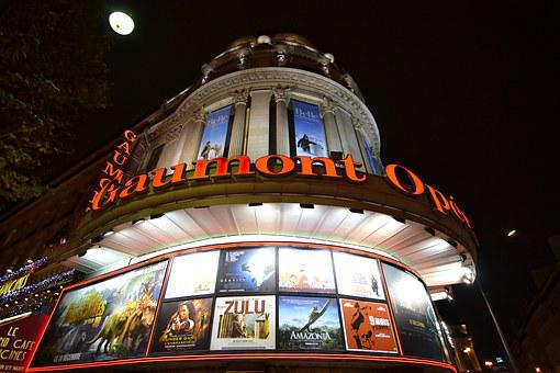 Cinema, Gaumont, Posters, Paris, Night, Lights, Evening