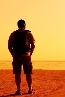 Alone, Evening, Male, Man, Ocean, Orange, Person, Sea