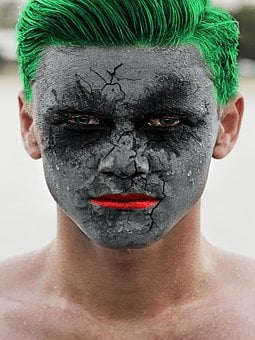 Joker, Portrait, Green, Hair, Ghost, Mask, Clown, Black