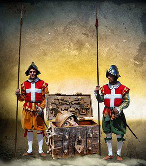Chest, Box, Treasure Chest, Middle Ages, Head, Guard