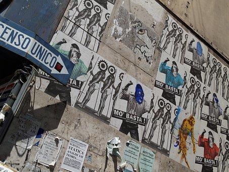 Poster, Advertising, Naples, Side Street, Mediterranean