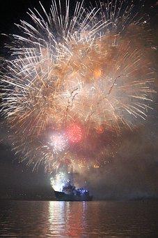 Warship, Fireworks, Navy, Harbour, Maritime, Patriotism