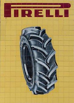 Mural, Tiles, Vintage, Pirelli, Advertising, Poster