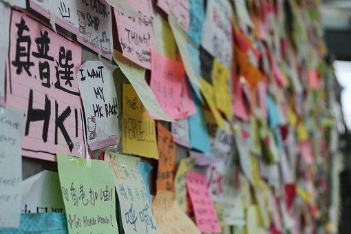 Hong Kong, Umbrella Movement, Asia, China, Post It